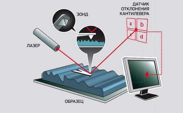 Принцип работы сканирующего зондового микроскопа